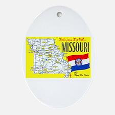 Missouri Map Greetings Ornament (Oval)
