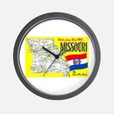 Missouri Map Greetings Wall Clock