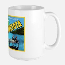 Minnesota Map Greetings Large Mug