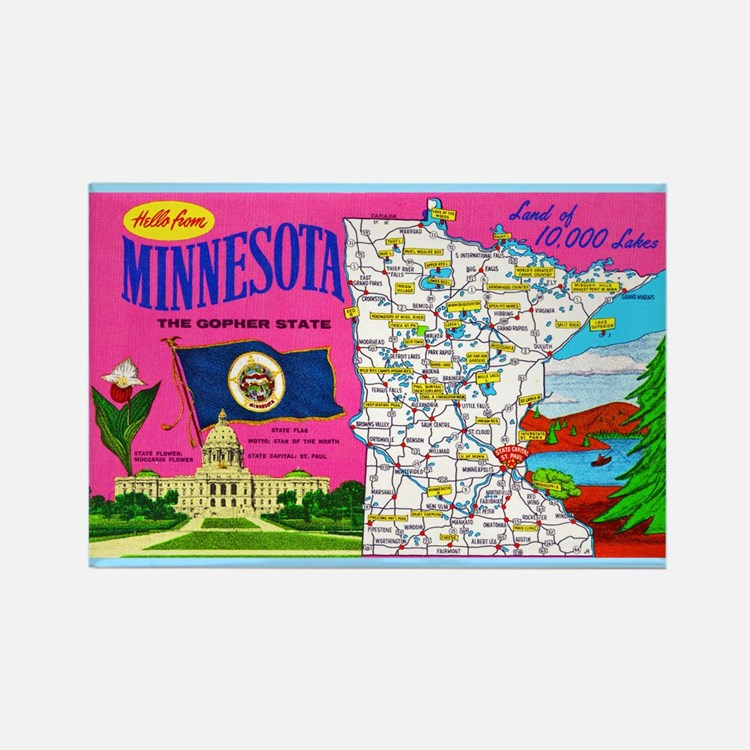 Minnesota Map Greetings Rectangle Magnet