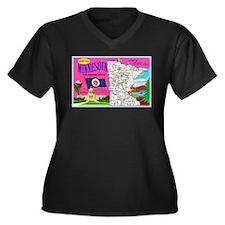 Minnesota Map Greetings Women's Plus Size V-Neck D