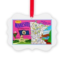 Minnesota Map Greetings Ornament