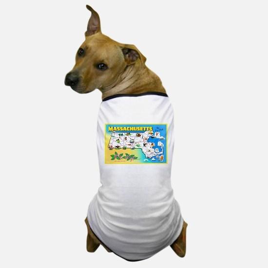 Massachussetts Map Greetings Dog T-Shirt