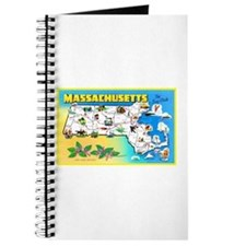 Massachussetts Map Greetings Journal