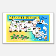 Massachussetts Map Greetings Sticker (Rectangle)