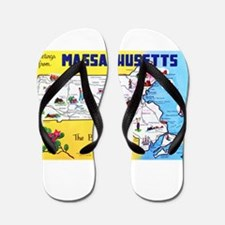 Massachussetts Map Greetings Flip Flops
