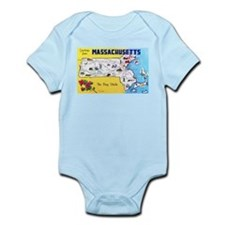 Massachussetts Map Greetings Infant Bodysuit