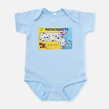 Massachussetts Map Greetings Infant Bodysuit