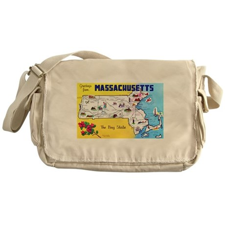 Massachussetts Map Greetings Messenger Bag