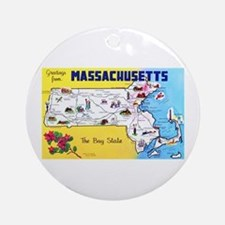 Massachussetts Map Greetings Ornament (Round)