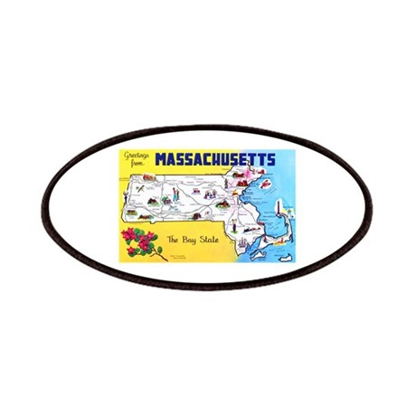 Massachussetts Map Greetings Patches