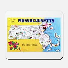 Massachussetts Map Greetings Mousepad