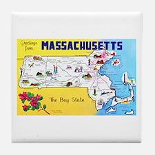 Massachussetts Map Greetings Tile Coaster
