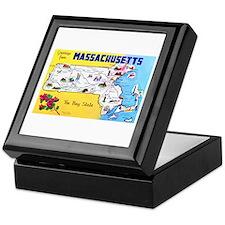 Massachussetts Map Greetings Keepsake Box