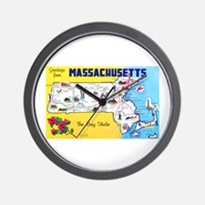 Massachussetts Map Greetings Wall Clock