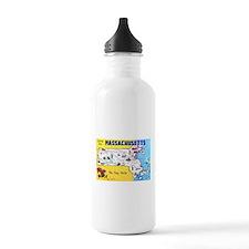 Massachussetts Map Greetings Water Bottle