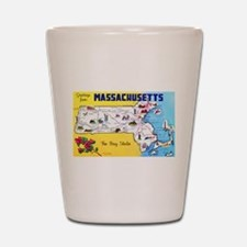 Massachussetts Map Greetings Shot Glass