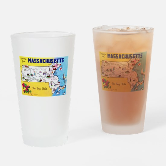Massachussetts Map Greetings Drinking Glass