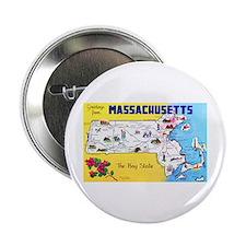 "Massachussetts Map Greetings 2.25"" Button"
