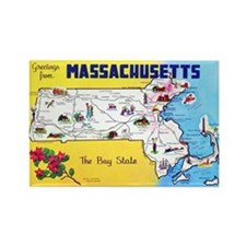 Massachussetts Map Greetings Rectangle Magnet