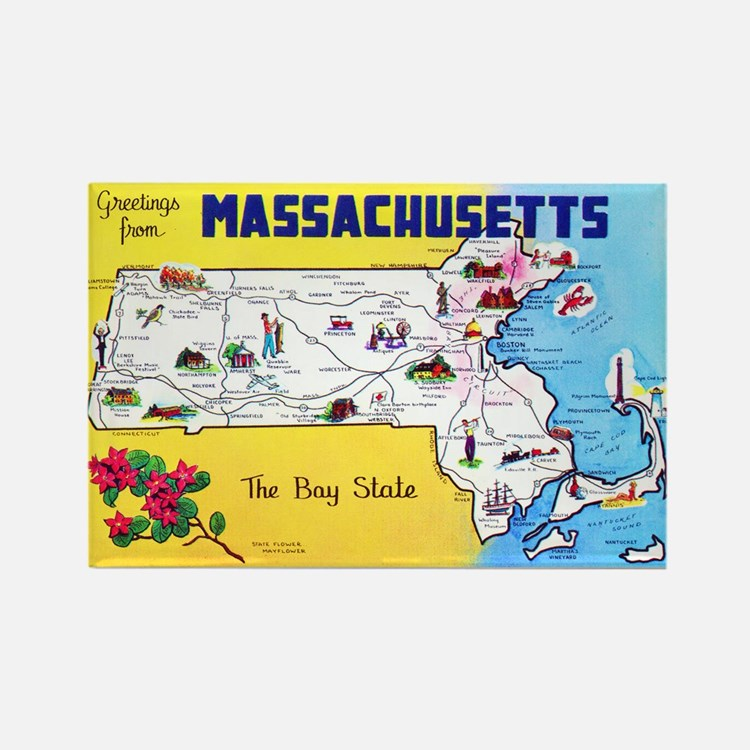 Massachussetts Map Greetings Rectangle Magnet