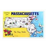Massachusetts map Postcards