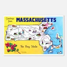 Massachussetts Map Greetings Postcards (Package of