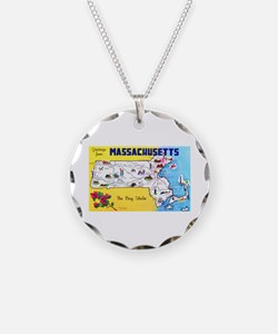 Massachussetts Map Greetings Necklace