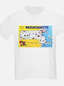 Massachussetts Map Greetings T-Shirt