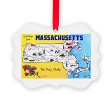 Massachussetts Map Greetings Ornament