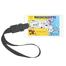Massachussetts Map Greetings Luggage Tag