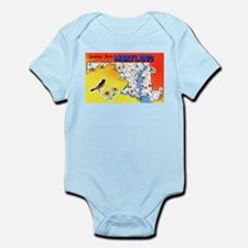 Maryland Map Greetings Infant Bodysuit