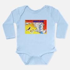 Maryland Map Greetings Long Sleeve Infant Bodysuit