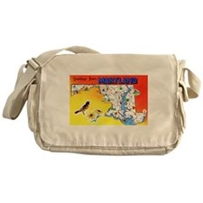 Maryland Map Greetings Messenger Bag