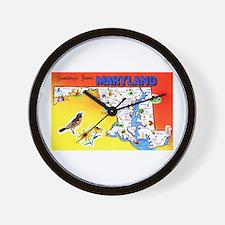 Maryland Map Greetings Wall Clock