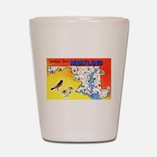 Maryland Map Greetings Shot Glass