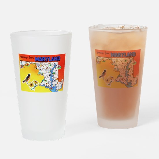 Maryland Map Greetings Drinking Glass