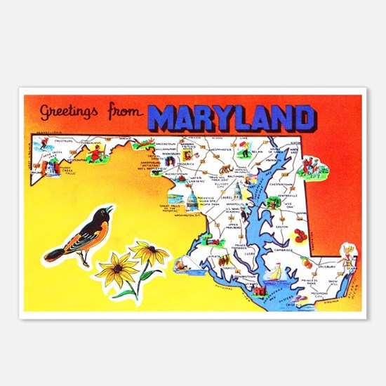 Maryland Map Greetings Postcards (Package of 8)