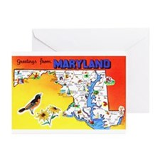 Maryland Map Greetings Greeting Cards (Pk of 10)