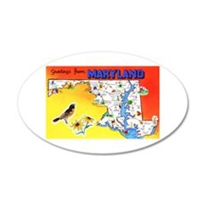 Maryland Map Greetings Wall Decal