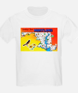 Maryland Map Greetings T-Shirt