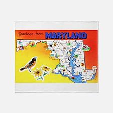 Maryland Map Greetings Throw Blanket