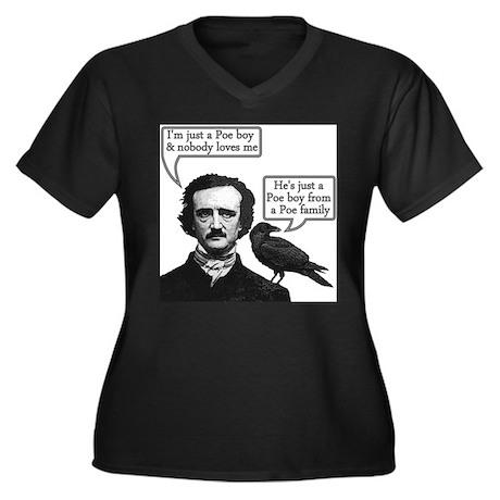 Poe Boy Women's Plus Size V-Neck Dark T-Shirt