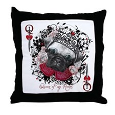 Pug Queen of Hearts Throw Pillow
