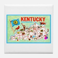 Kentucky Map Greetings Tile Coaster