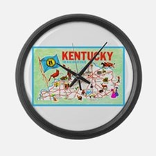 Kentucky Map Greetings Large Wall Clock