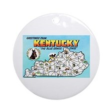 Kentucky Map Greetings Ornament (Round)