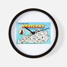 Kentucky Map Greetings Wall Clock