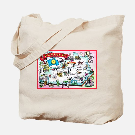 Kentucky Map Greetings Tote Bag