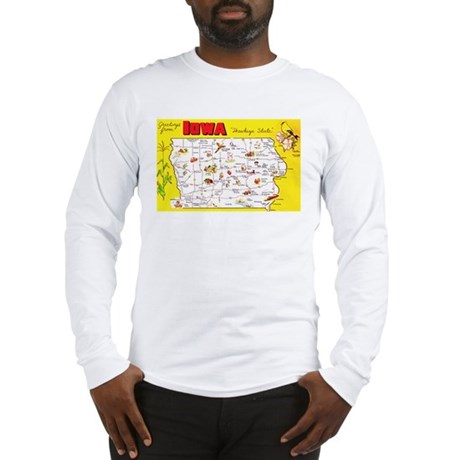 Iowa Map Greetings Long Sleeve T-Shirt